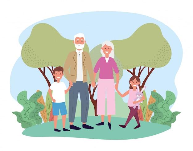 Bonito avô e avó com seus filhos felizes Vetor Premium