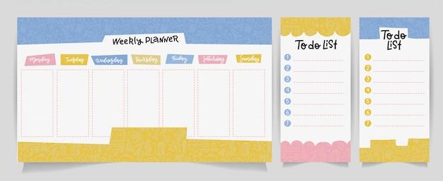 Bonito calendário modelo de planejador diário e semanal. papel de nota, lista de tarefas conjunto com ilustrações de material escolar linear Vetor Premium