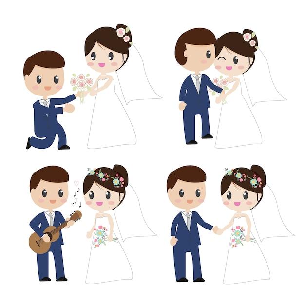 Bonito, caricatura, bonito, noiva noivo, pares, em, vestido casamento Vetor Premium