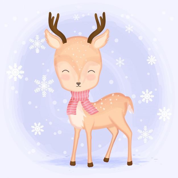 Bonito cervo com floco de neve dos desenhos animados mão desenhada Vetor Premium