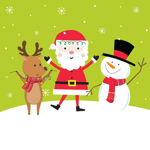 Bonito conjunto de caracteres de natal com papai noel, renas e boneco de neve Vetor Premium