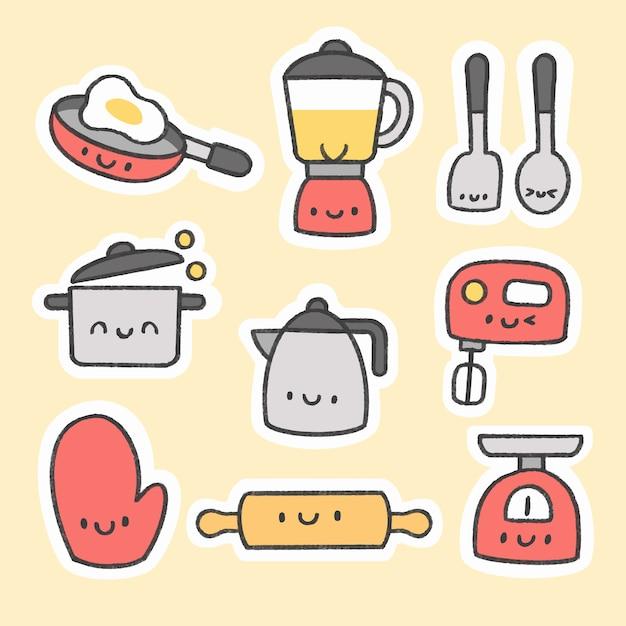 Bonito, cozinha, ferramentas, adesivo, mão, desenhado, caricatura, cobrança Vetor Premium