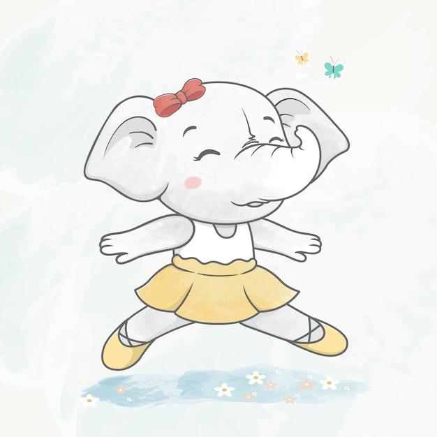 Bonito, dançar, elefante, menina, cor água, caricatura, mão, desenhado Vetor Premium