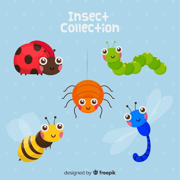 Bonito, desenhado mão, insetos, pacote Vetor grátis
