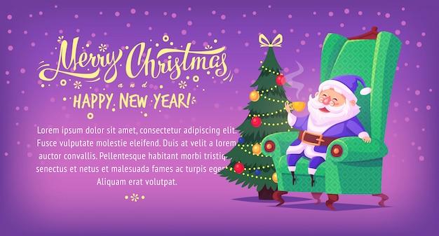 Bonito dos desenhos animados azul terno papai noel sentado na cadeira, bebendo chá banner horizontal de ilustração de feliz natal Vetor Premium