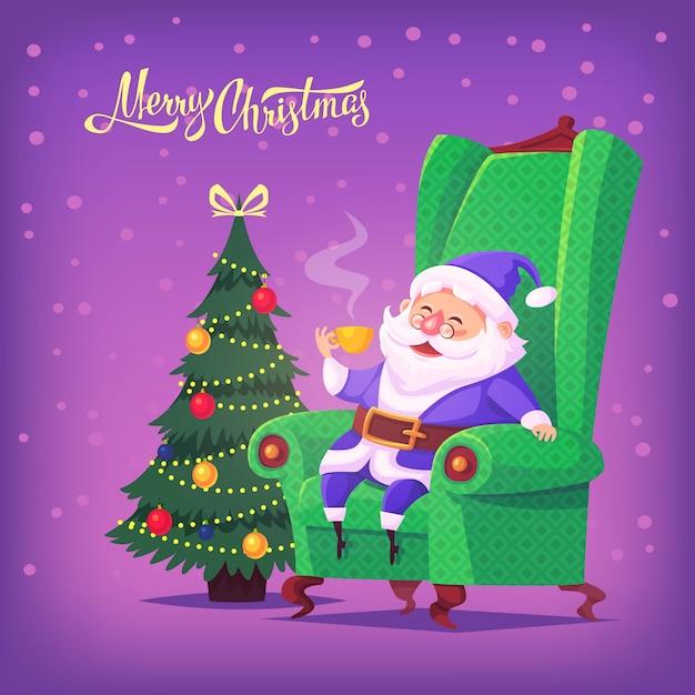 Bonito dos desenhos animados azul terno papai noel sentado na cadeira, bebendo chá ilustração de feliz natal Vetor Premium