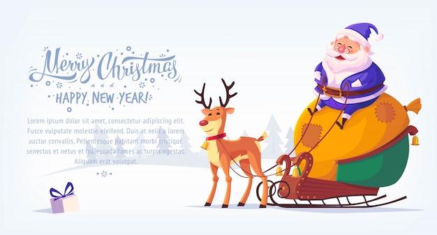 Bonito dos desenhos animados azul terno papai noel sentado no trenó com renas banner horizontal de ilustração de feliz natal Vetor Premium
