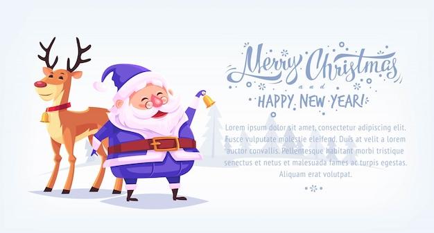 Bonito dos desenhos animados azul terno papai noel tocando sino com renas banner horizontal de ilustração de feliz natal Vetor Premium