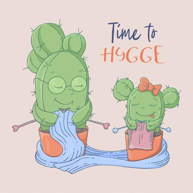 Bonito dos desenhos animados cartão postal cactos avó e neta aprendem a tricotar Vetor Premium