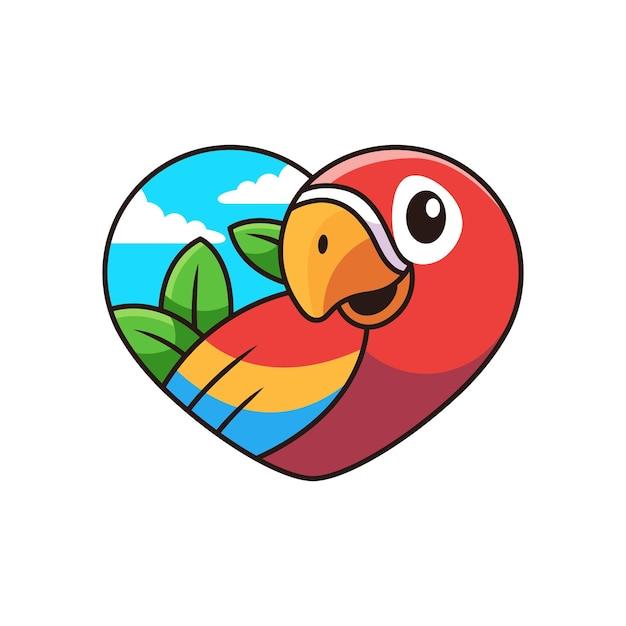 Bonito dos desenhos animados da arara com ilustração do ícone dos desenhos animados do amor. conceito de ícone de animal em fundo branco Vetor Premium