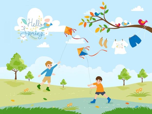 Bonito dos desenhos animados de dois meninos empinando pipas no parque na primavera Vetor Premium