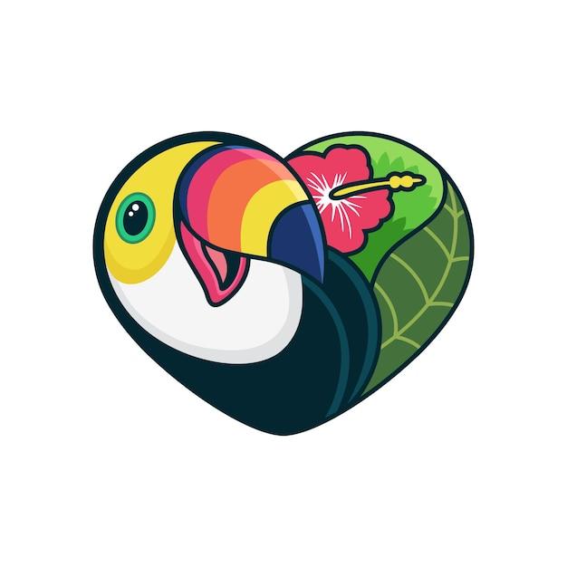 Bonito dos desenhos animados de tucano com ilustração do ícone dos desenhos animados do amor. conceito de ícone de animal em fundo branco Vetor Premium