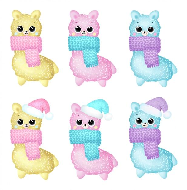 Bonito dos desenhos animados inverno lhamas de natal em conjunto de lenços Vetor Premium