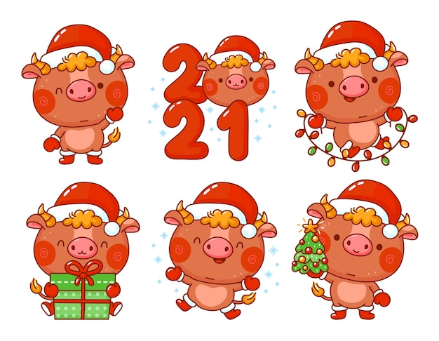 Bonito engraçado ano novo 2021 símbolo touro no conjunto de caracteres de tampa de papai noel. personagem de desenho vetorial kawaii Vetor Premium