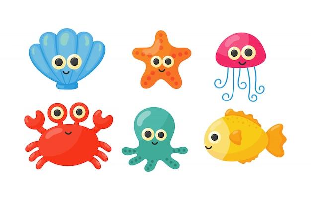 Bonito engraçado mar e oceano animais dos desenhos animados isolado Vetor Premium