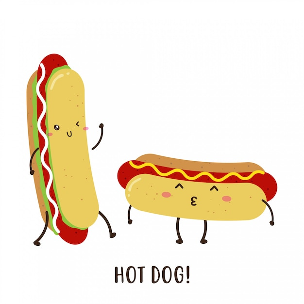 Bonito feliz delicioso cachorro-quente vector design Vetor Premium