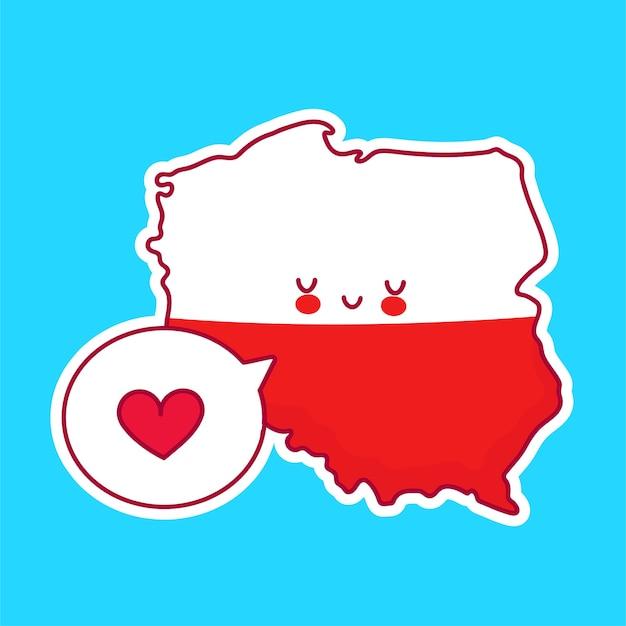 Bonito feliz engraçado polónia mapa e bandeira personagem com coração no balão. linha dos desenhos animados do ícone de ilustração do personagem kawaii. conceito polonês Vetor Premium