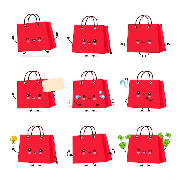 Bonito feliz engraçado sacola coleção definida. desenho animado personagem ilustração ícone do design. isolado no fundo branco Vetor Premium