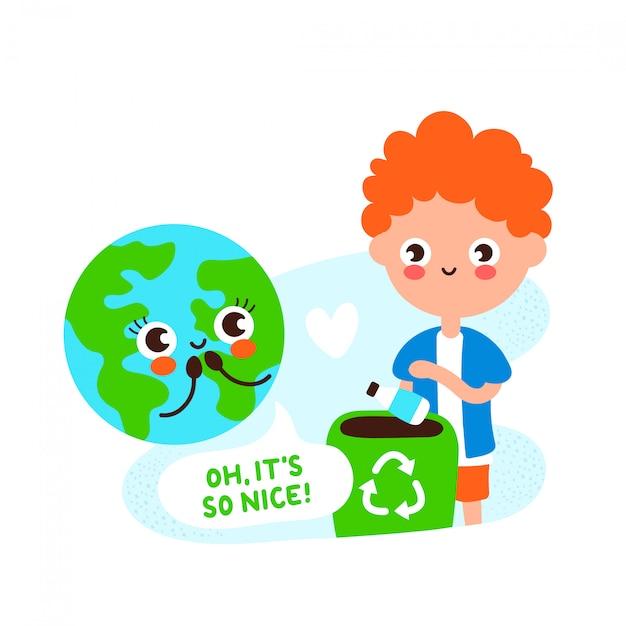 Bonito feliz planeta terra e jovem reciclagem Vetor Premium