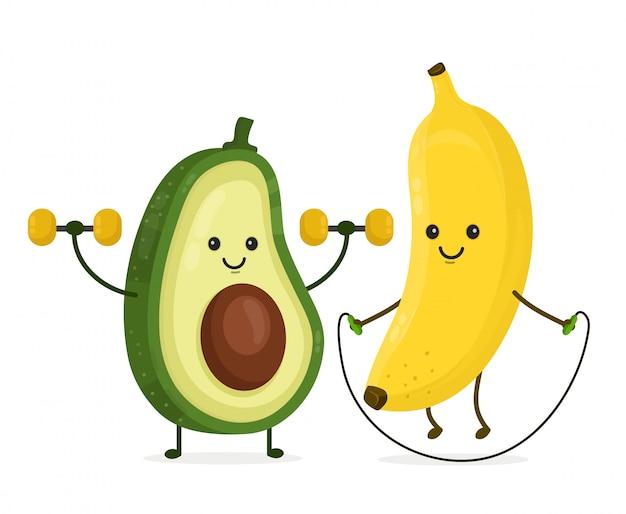 Bonito feliz sorridente banana e abacate fazendo exercícios Vetor Premium