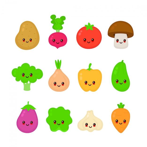 Bonito feliz sorridente conjunto de coleta de vegetais crus. ilustração em vetor estilo plano cartoon personagem. isolado no fundo branco. cenoura, tomate, cebola, berinjela, alho, brócolis, repolho, pimenta, rabanete Vetor Premium
