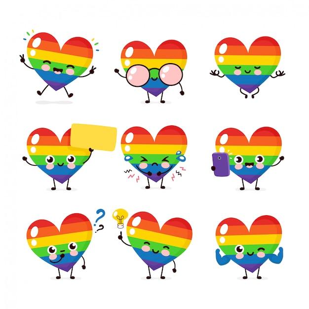 Bonito feliz sorridente coração lgbt conjunto de caracteres coleção. direitos humanos. lgbtq. conceito de orgulho gay Vetor Premium