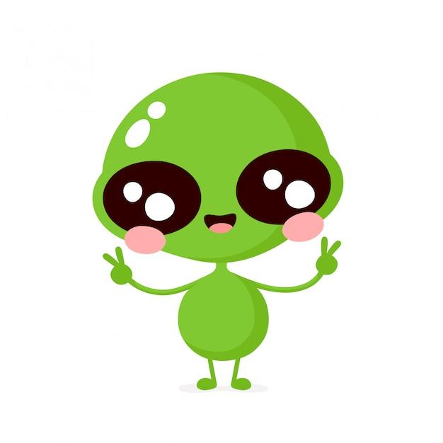 Bonito feliz sorridente personagem alienígena amigável mostra sinal de paz. cartoon plana ilustração ícone do design. isolado no fundo branco conceito de personagem alienígena Vetor Premium