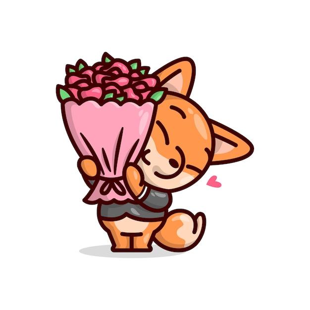 Bonito fox que desgasta o terno preto em pé e traz um ramalhete de flor de rosa vermelha. ilustração do dia de valentim. Vetor Premium