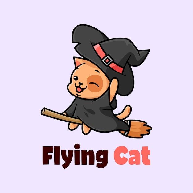 Bonito gato preto usando chapéu de bruxa e voando com ilustração de desenho animado Vetor Premium