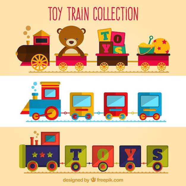 Bonito, jogo, brinquedo, trens Vetor grátis