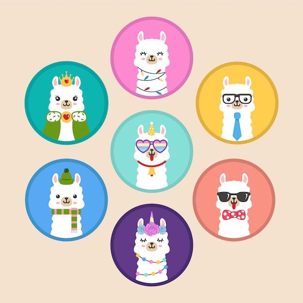Bonito kawaii lhama cabeça círculo emblema emblema adesivos Vetor Premium