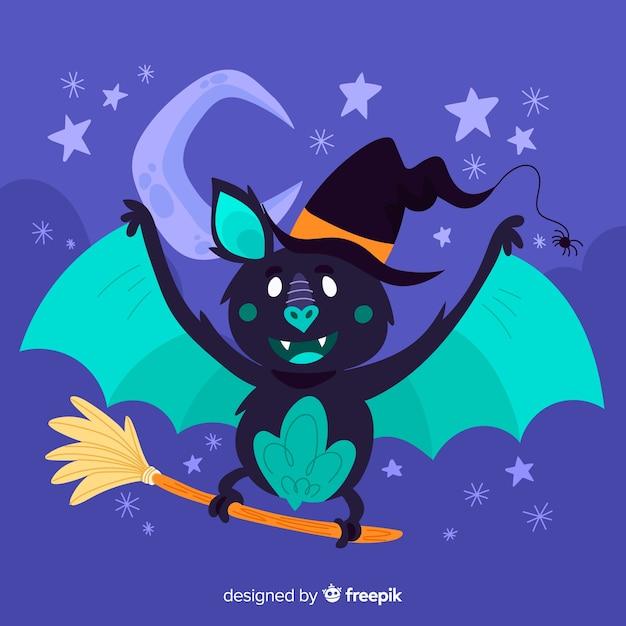 Bonito mão desenhada de morcego halloween Vetor grátis