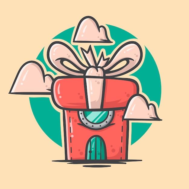 Bonito mão desenhada ilustração de casa de caixa de natal Vetor Premium