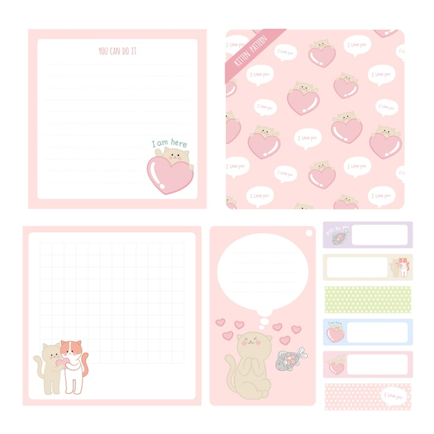 Bonito mão ilustrações desenhadas notas pegajosas, etiqueta, coleção de gatinho adesivos Vetor Premium