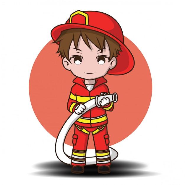 Bonito, menino jovem, desgastar, bombeiro, caricatura Vetor Premium