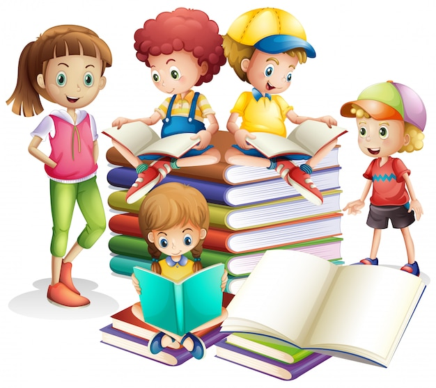Bonito, menino menina, leitura, livros Vetor grátis