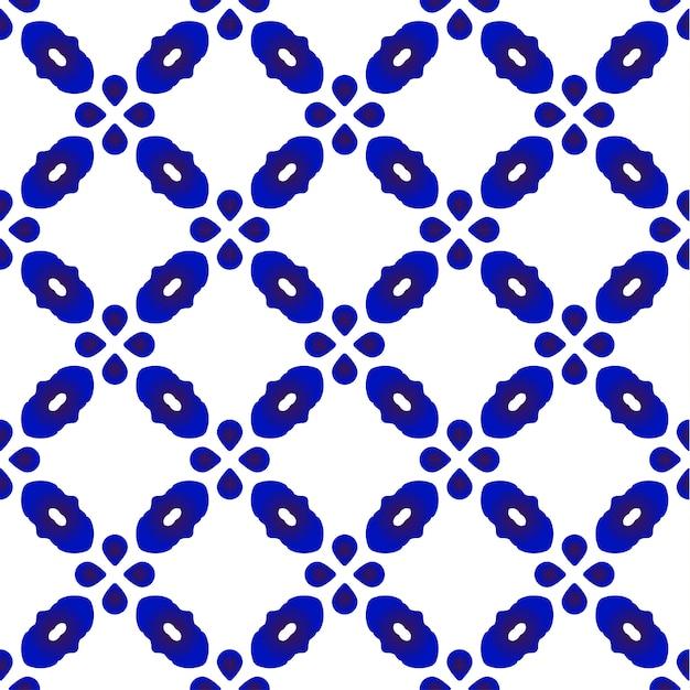 Bonito padrão azul e branco sem costura Vetor Premium