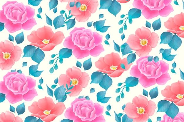 Bonito padrão floral em aquarela com flores rosas Vetor grátis