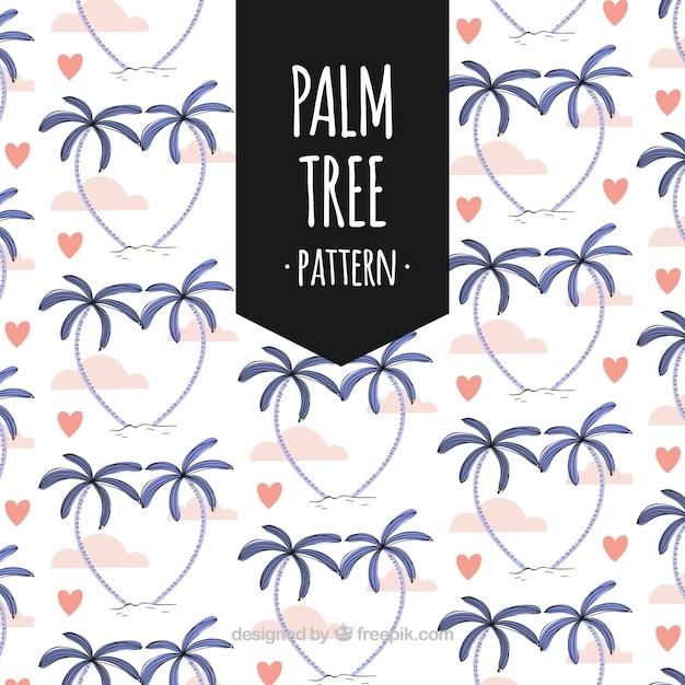 Bonito, padrão, palmas, aquarela, corações Vetor grátis