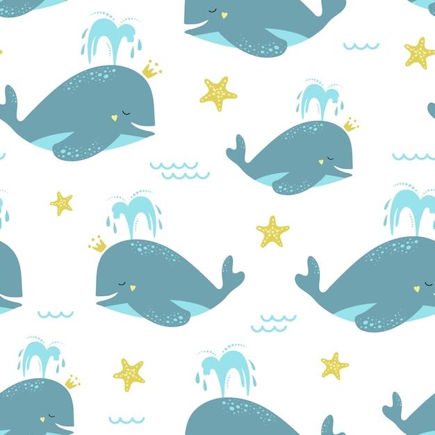 Bonito padrão sem emenda com baleias azuis e estrelas do mar. Vetor Premium