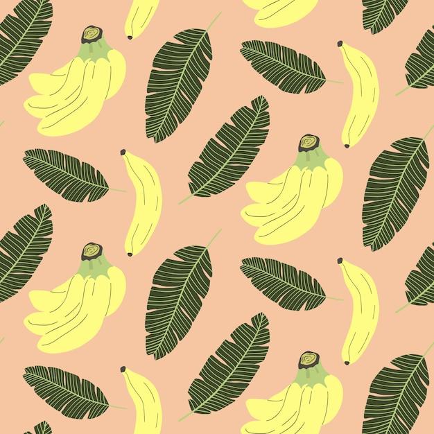Bonito padrão sem emenda com banana e folhas tropicais. Vetor Premium