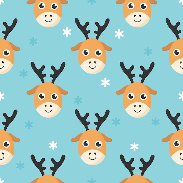 Bonito padrão sem emenda com cervos de bebê dos desenhos animados e neve para crianças. animal no fundo azul. Vetor Premium
