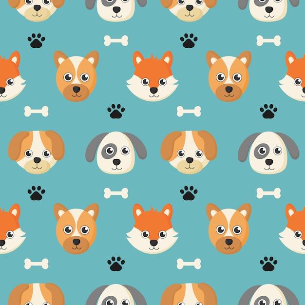 Bonito padrão sem emenda com desenhos animados bebê cachorro e osso para crianças. Vetor Premium