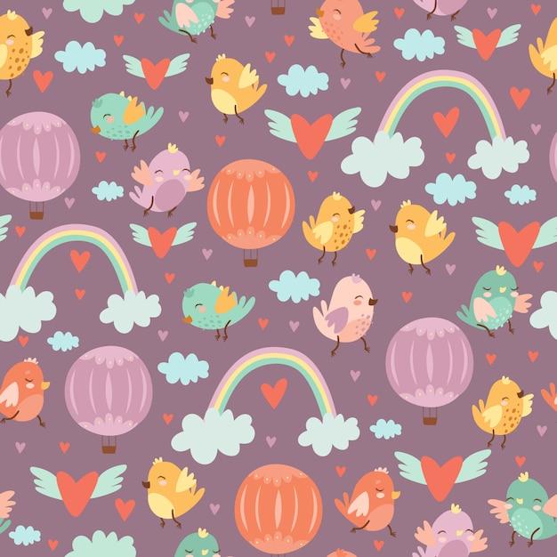 Bonito padrão sem emenda com doodle pássaros e balões Vetor grátis