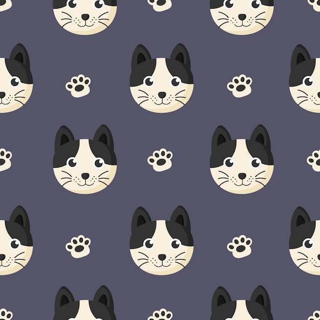 Bonito padrão sem emenda com gato de bebê dos desenhos animados e pegada para crianças. animal no fundo roxo. Vetor Premium