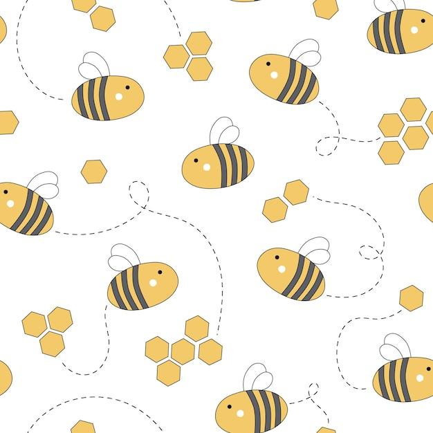 Bonito padrão sem emenda com mel e abelhas Vetor Premium