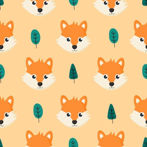 Bonito padrão sem emenda com raposas de bebê dos desenhos animados e árvore para crianças. animal em fundo laranja. Vetor Premium