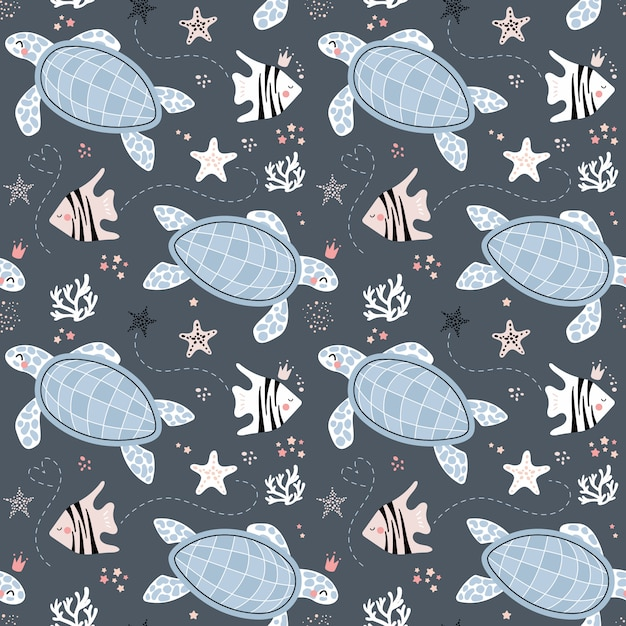 Bonito padrão sem emenda com tartarugas e peixes Vetor Premium