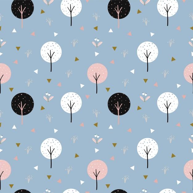 Bonito padrão sem emenda de árvore e triângulo para tecido infantil Vetor Premium