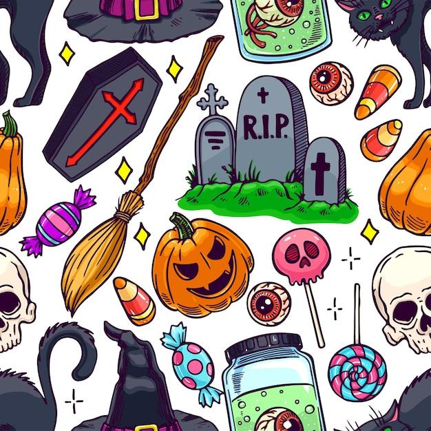 Bonito padrão sem emenda de halloween de atributos mágicos e doces. ilustração desenhada à mão Vetor Premium